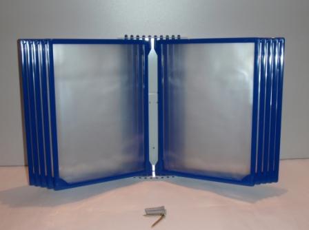 Перекидная система А4 настенная на 10 (десять) синих рамок плоская