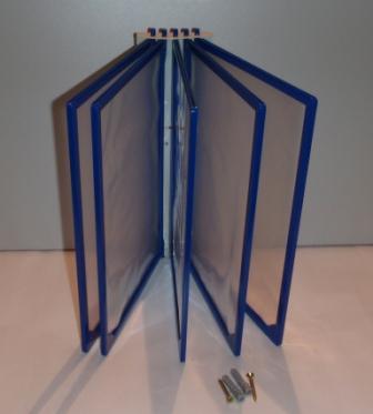 Перекидная система А4 настенная на 5 (пять) синих рамок плоская